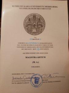 ハイデルベルク大学の卒業証書